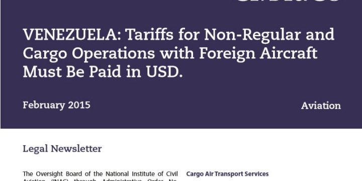 Tariffs for Non-Regular and Cargo Operations with Foreign Aircraft Must Be Paid in USD