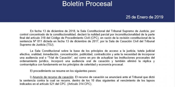 Boletín Procesal Enero 2019