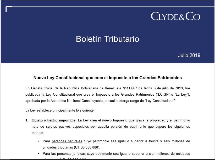 Boletín Tributario Julio 2019