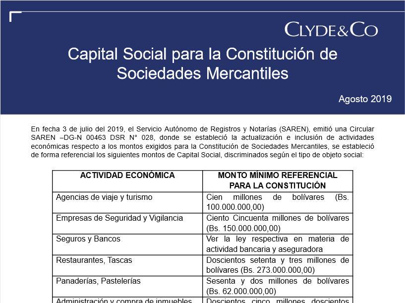 Capital Social para la Constitución de Sociedades Mercantiles