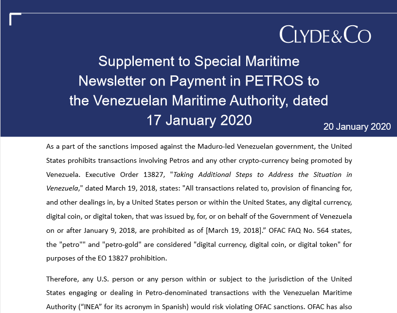 Supplement to Special Maritime Newsletter on Payment in PETROS to the Venezuelan Maritime Authority, dated 17 January 202