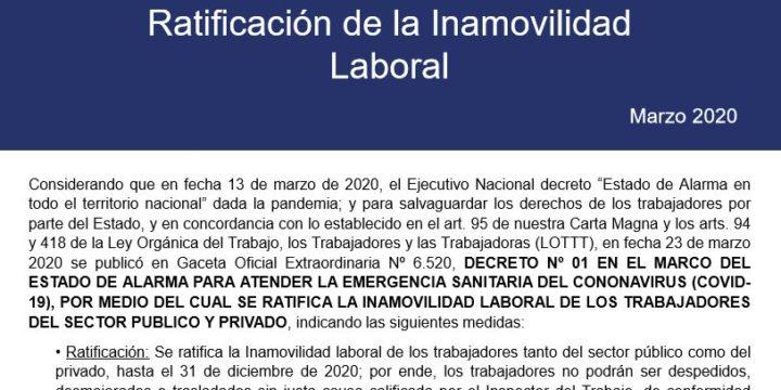 Ratificación de la Inamovilidad Laboral