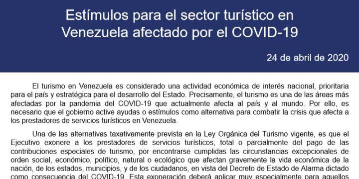 Estímulos para el sector turístico en Venezuela afectado por el COVID-19