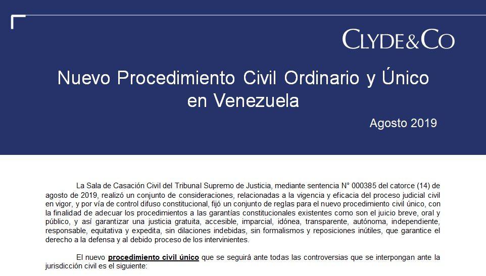 Nuevo Procedimiento Civil Ordinario y Único en Venezuela