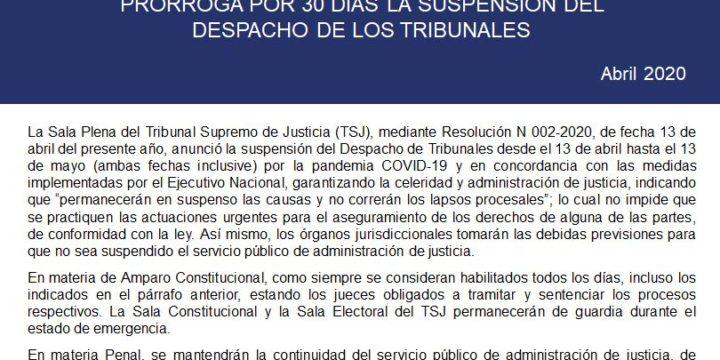 Sala plena del Tribunal Supremo de Justicia prorroga por 30 días la suspensión del despacho de los tribunales