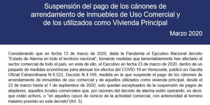 Suspensión del pago de los cánones de arrendamiento de inmuebles de uso comercial y de los utilizados como vivienda principal